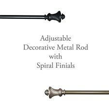 Adjustable Window Curtain Drapery ROD Set: Spiral Finials. All Hardware Included
