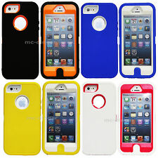 For Apple iPhone 5 Silicone & Hard Plastic w/ Screen Hybrid Impact  Cover Case
