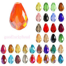 Hot 20X Faceted Teardrop Crystal Loose Spacer Glass Beads 8x12 Findings 16x10mm
