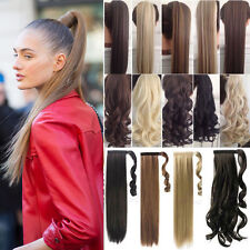 100% Real Thick Clip In as Human Hair Extensions Pony Tail Wrap Around Ponytail