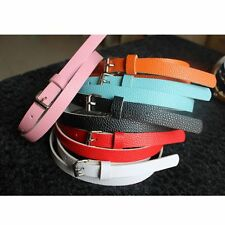 Metal Buckle 8 Candy Colors Waist Belt Faux Leather Women Accessories Thin