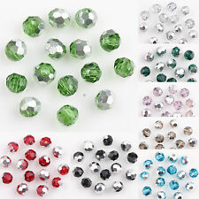 100 Silver Plated Czech Crystal Glass Round Loose Spacer Beads Finding Craft 4MM