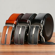 Mens Soft Genuine Leather Business Dress Belt with Auto Lock Sliding Buckle