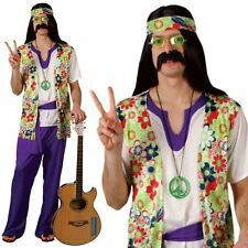 Adult Mens 60s 70s Hippie Hippy Man Groovy Flower Fancy Dress Costume Outfit