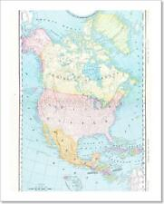 Antique Color Map North America Canada Mexico, Usa