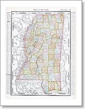 Antique Map Of Mississippi, Ms, United States, Usa
