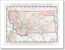 Antique Vintage Color Map Of Montana United States
