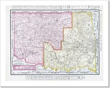 Antique Vintage Map Oklahoma Indian Territory, Usa