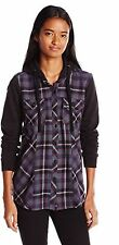 Jrs Metal Mulisha Bellina Woven Hooded L/S Button Up Charcoal