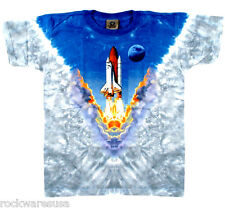Space Shuttle NASA Rocket Liquid Blue Tie Dye Tee Youth unisex Small, Large