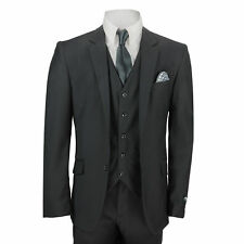New Mens 3 Piece Suit Plain Black Classic Tailored Fit Smart Casual Formal