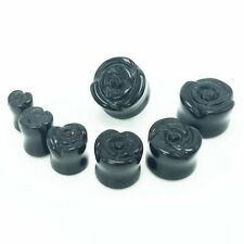 1pair 2g-16mm Rose Flower Black Agate Semi-precious Stone Ear Plug Gauge Earring