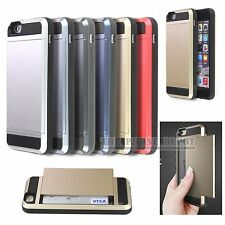 Slide Hybrid Hard Card Slot  Wallet Armor Case cover For iPhone 5 5S SE 6 6 Plus