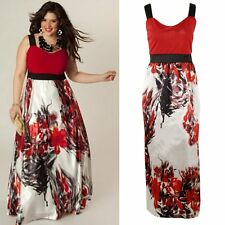 Plus Size Women Summer Sleeveless Floral Party Evening Cocktail Long Maxi Dress