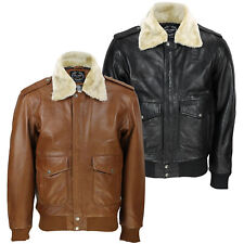 New Mens Real Leather US Air Pilot Bomber Jacket Removable Fur Collar Black, Tan