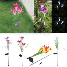 Solar Power Outdoor Garden Patio Security Light LED Lily Flower Lamp 4 Colors
