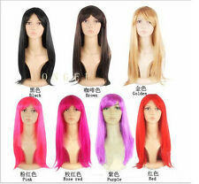 WOMENS LADIES LONG STRAIGHT WIG FANCY DRESS COSPLAY WIGS POP PARTY COSTUME HOT h