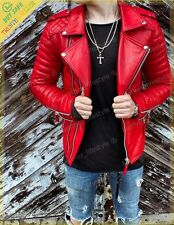 New Men's Genuine Lambskin Leather Jacket Red Slim fit Biker Motorcycle jacket