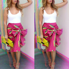 Sexy Womens Vintage High Waist Floral Bowknot Casual Party Bodycon Pleated Skirt