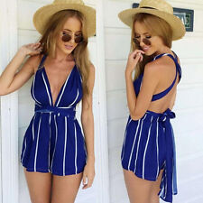 Sexy Womens Deep V-Neck Backless Striped Bandage Beach Rompers Jumpsuits Shorts