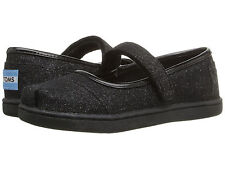 NEW INFANT TODDLER TINY GIRLS TOMS MARY JANE BLACK GLIMMER ORIGINAL SO CUTE