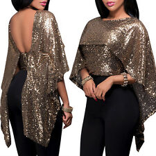 Lady Sexy Fashion Sequined Shawl Collar Loose Blouse Party Clubwear Top Dazzling