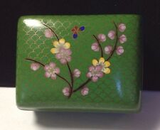 Vintage Chinese Cloisonne Hinged Trinket Jewelry Box