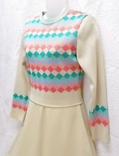 "NWT 60'S ""BLEEKER STREET"" SLEEK KNIT A-LINE DRESS - PASTEL-MIX DIAMONDS ON CREME"