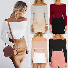Womens Sexy Off Shoulder Long Sleeve Blouse Tops Ladies Casual T-Shirts Clubwear