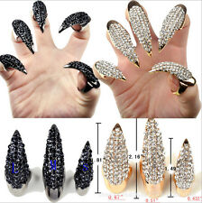 Punk Rock Gold/Black Plated Rhinestone Gothic Talon Nail Finger Claw Spike Ring