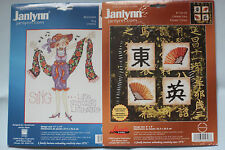 Lot of 2 Cross Stitch kits counted & stamped, Janlynn New!