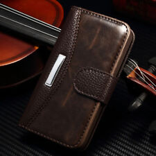 For iPhone Samsung Galaxy Case Genuine Real Leather Flip Wallet Stand Cover N