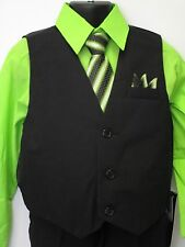 Vangogh boys lime green long sleeve 4 piece dress set. Size 8-14