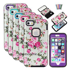 Glossy Peony Flower Pattern Hybrid Heavy Duty Shockproof Case Cover For iPhone