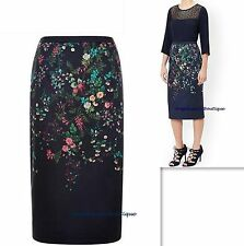 MONSOON NAVY BLUE MULTI FLORAL PLACEMENT PRINT LINED PENCIL SKIRT SIZE 8-22 NEW
