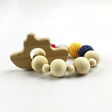 Boat Wooden Teether Chew Baby Crochet Beads Nursing Toy Rattle Montessori Pram