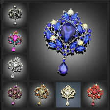 Flower Floral Tear Large Drop Brooch Pin Crystal Glass Teardrop Pendant Dazzling