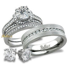 His & Hers Bridal Set Steel CZ Wedding Rings Set + FREE Sterling Silver Earrings