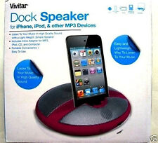 VIVITAR DOCK SPEAKER,iPHONE,iPOD,MP3 PORTABLE DESKTOP SPEAKER SYSTEM,PINK,NEW