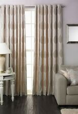 CREAM LEAF LEAVES COTTON BLEND LINED RING TOP CURTAINS DRAPES 7 SIZES