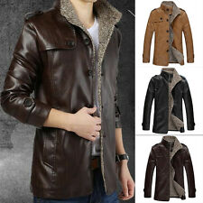 Mens Winter Leather Jacket Men Trench Coat  Khaki Black Brown M L XL XXL XXXL