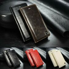 Classic Vintage Leather Wallet Flip Case Stand Cover for iPhone Samsung Galaxy N