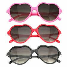 Pink Red Black Heart Shape Women's Sunglasses Gradient Black Lens Retro Vintage