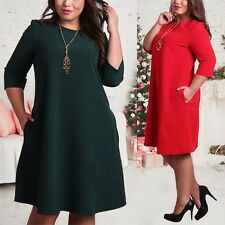 Plus Size Women Dress Formal Evening Cocktail Party Long Sleeve Beach Mini Dress
