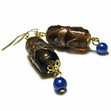 Beautiful Blue and Brown Glass Bead Earrings By SoniaMcD