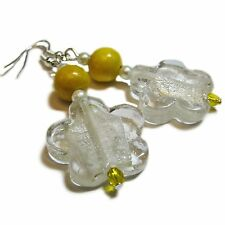 Bright Yellow Wood and Clear Glass Bead Flower Earrings By SoniaMcD
