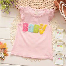 Toddler Kids Baby Girls Cotton Tops Sleeveless T-Shirt Casual Vest Blouse Tee