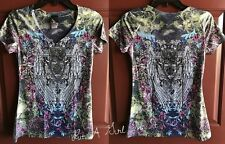SARA MODE CRYSTAL CROSS FLEUR DE LIS WINGS SUBLIMATION BIKER SHIRT M MEDIUM