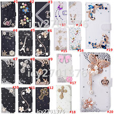 Magnetic Bling Luxury Diamonds Crystal PU Leather wallet flip Stand Cover Case Y