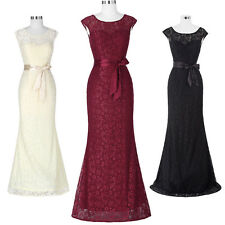 Long Lace Formal Evening Bridesmaids Wedding Cocktail Party Gown Prom Ball Dress